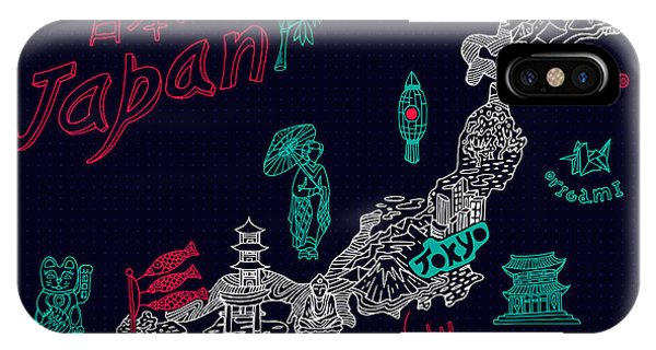 Buddhism iPhone Case - Illustrated Map Of Japan by Daria i