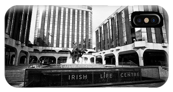 Irish Life Centre With Chariot Of Life Sculpture And Fountain Dublin Republic Of Ireland Europe Phone Case by Joe Fox