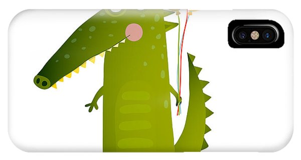 Celebration iPhone Case - Kids Watercolor Style Crocodile With by Popmarleo