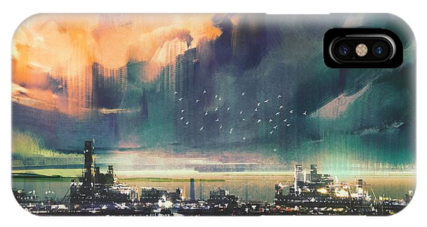 Town iPhone Case - Landscape Digital Painting Of Sci-fi by Tithi Luadthong