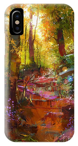 Red Rock iPhone X Case - Landscape Painting Of Beautiful Autumn by Tithi Luadthong