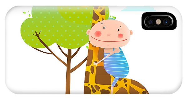 Small iPhone Case - Little Boy Hugging A Giraffe Childish by Popmarleo
