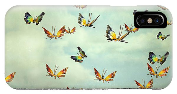Object iPhone Case - Many Colorful Butterflies Flying Into by Valentina Photos