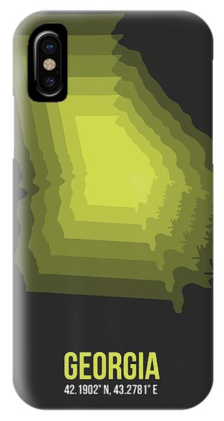 Georgia iPhone Case - Map Of Georgia 4 by Naxart Studio