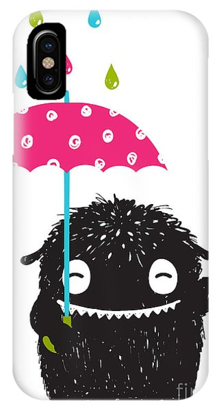 Small iPhone Case - Monster For Kids With Umbrella Under by Popmarleo