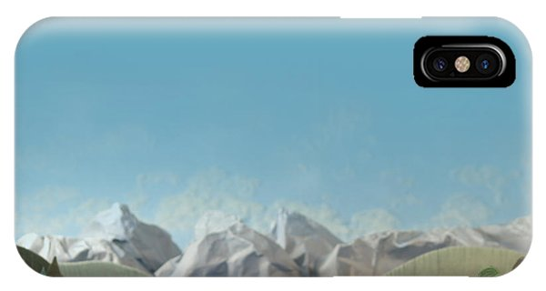 Spring Mountains iPhone Case - Mountains Panorama With Deer - Alpine by Kreus