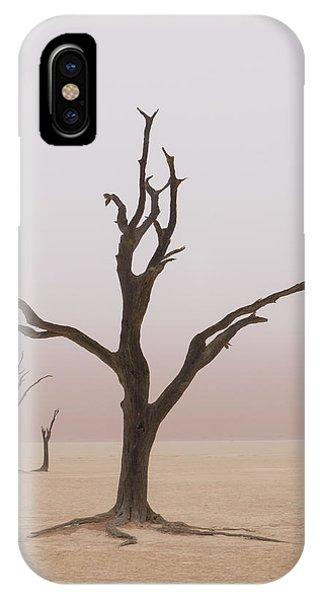 Namibia Fog Shrouds The Dead Acacia Phone Case by Brenda Tharp