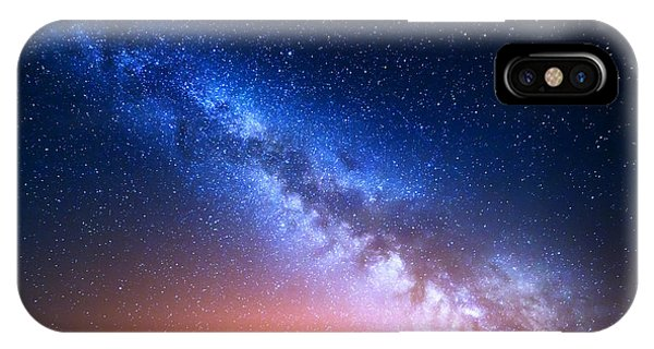 Space iPhone Case - Night Landscape With Colorful Milky Way by Denis Belitsky