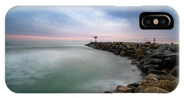 Pacific Ocean iPhone Case - Oceanside Harbor Jetty Sunset by Larry Marshall