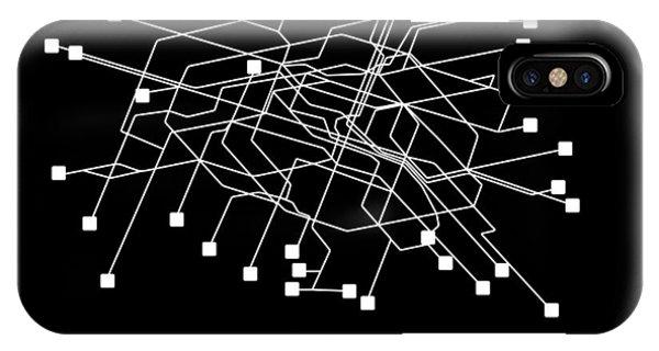 Paris iPhone Case - Paris Black Subway Map by Naxart Studio