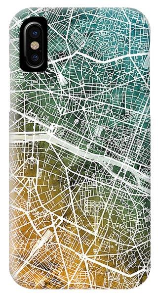 Paris iPhone Case - Paris France City Map by Michael Tompsett