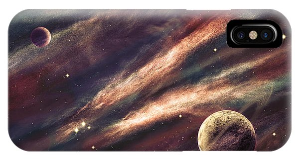 Solar System iPhone Case - Planets Over The Nebulae In Space by Vadim Sadovski