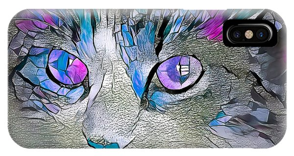 Purple Stained Glass Kitty IPhone Case