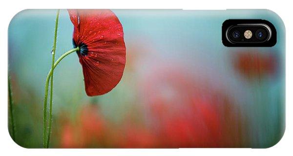 Soft iPhone Case - Red Corn Poppy Flowers by Nailia Schwarz