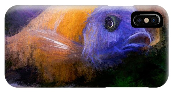 IPhone Case featuring the digital art Red Fin Borleyi Cichlid by Don Northup