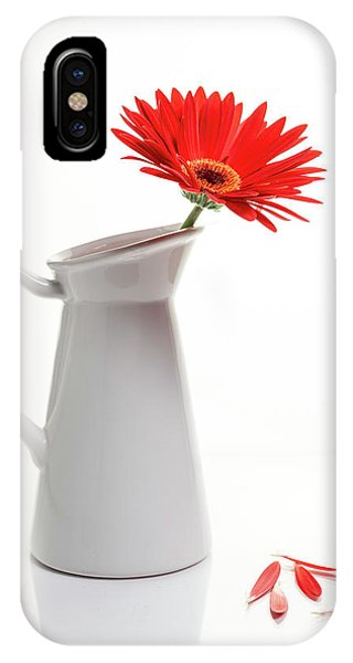 IPhone Case featuring the photograph Red Gazania Flower On A White Stylish Vase. Creative Still Life  by Michalakis Ppalis