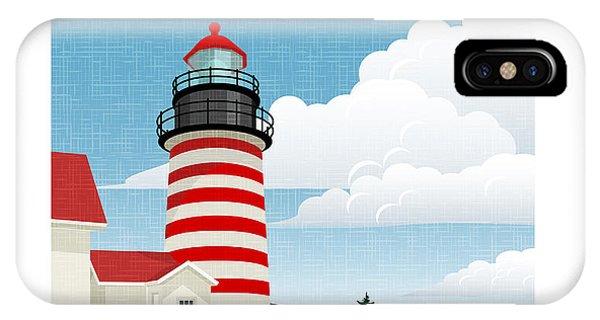 New England Coast iPhone Case - Retro Style Travel Poster Or Sticker by Teddyandmia