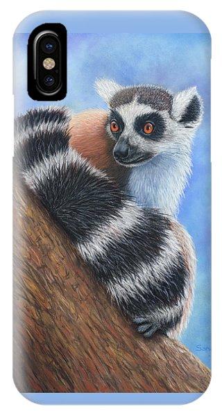 Ring-tailed Lemur iPhone Case - Eyes Wide Open by Sandra O'Steen Art
