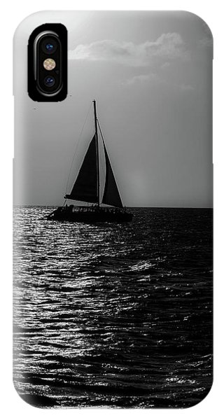Sailing Into The Sunset Black And White IPhone Case