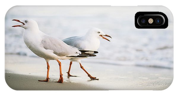IPhone Case featuring the photograph Seagulls On The Beach. by Rob D