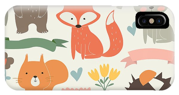 Humor iPhone Case - Set Of Forest Animals In Cartoon Style by Kaliaha Volha