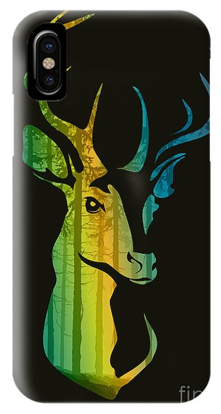 Stag iPhone Case - Silhouette Of A Head Of A Deer With by Eva mask