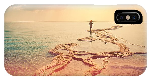 Salt Water iPhone Case - Silhouette Of Young Woman Walking On by Vvvita