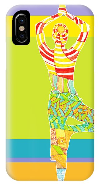 Simple iPhone Case - Simple Silhouette Of Woman Doing Yoga by Elena Sysoeva