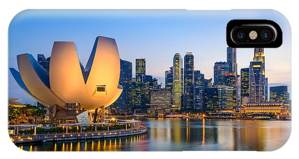 Singapore Skyline At The Marina During Phone Case by Sean Pavone