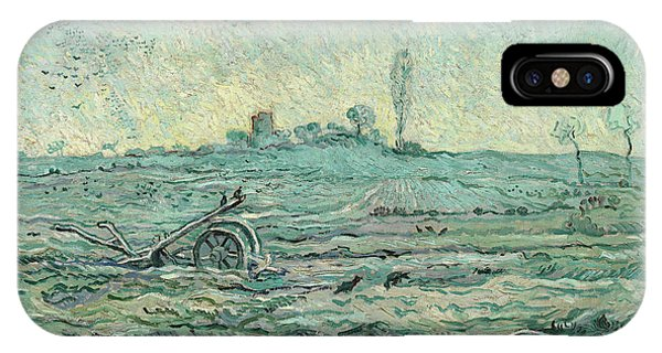 Van Gogh Museum iPhone Case - Snow-covered Field With A Harrow, After Millet by Vincent van Gogh
