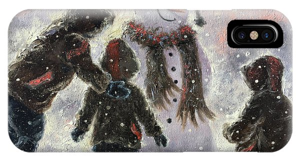 My Son iPhone Case - Snowman And Three Boys by Vickie Wade