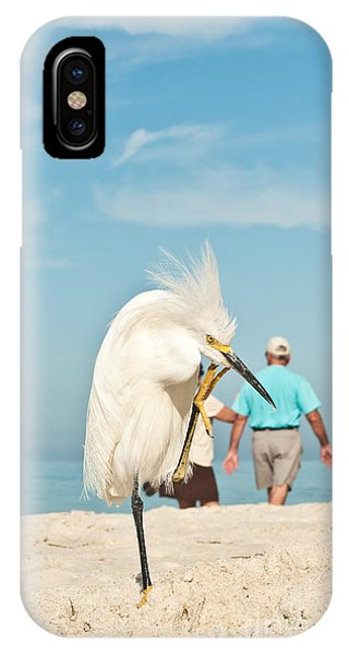 Egrets iPhone Case - Snowy Egret Standing On Sandy Beach On by Robert F. Leahy