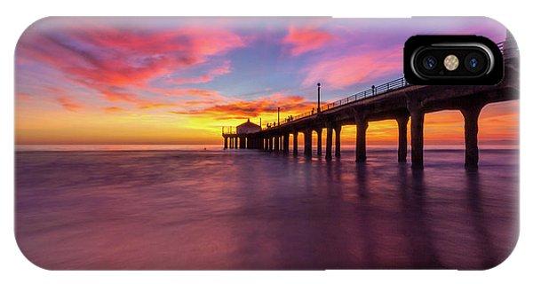Stunning Sunset At Manhattan Beach Pier IPhone Case