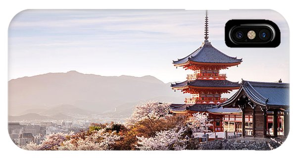 Dusk iPhone Case - Sunset At Kiyomizu-dera Temple And by Thipjang