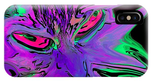 IPhone Case featuring the digital art Super Duper Crazy Cat Purple by Don Northup
