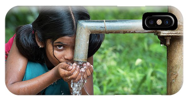 Indian Village iPhone Case - Taking A Drink by Tim Gainey