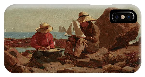 Homer iPhone Case - The Boat Builders, 1873 by Winslow Homer