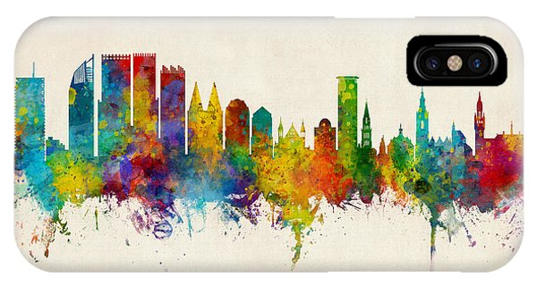 Holland iPhone Case - The Hague Netherlands Skyline by Michael Tompsett
