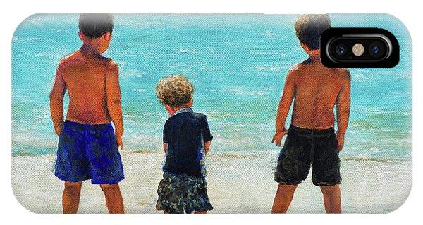 My Son iPhone Case - Three Beach Boys Aqua Sea by Vickie Wade
