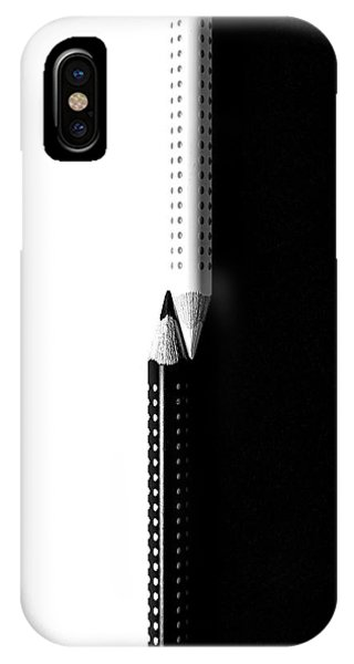 IPhone Case featuring the photograph Two Drawing Pencils On A Black And White Surface. by Michalakis Ppalis