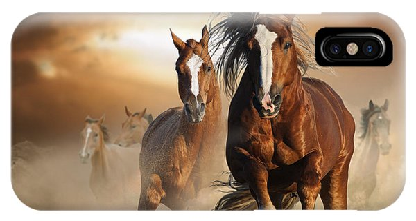 Purebred iPhone Case - Two Wild Chestnut Horses Running by Mariait