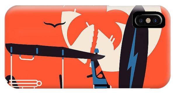 Surfboard iPhone Case - Vector Modern Flat Wall Art Poster by Mascha Tace