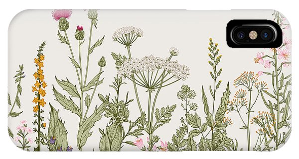 Seamless iPhone Case - Vector Seamless Floral Border. Herbs by Olga Korneeva