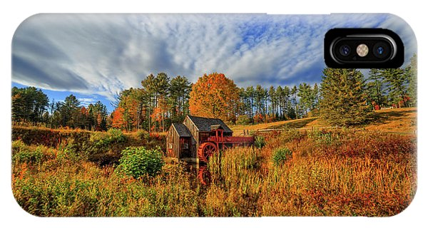 New England Barn iPhone Case - Vermont Grist Mill Panoramic Autumn Splendor by Edward Fielding