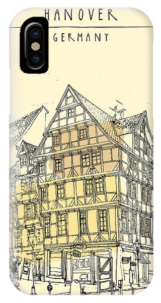Sketch Pen iPhone Case - View Of Old Center In Hanover, Germany by Babayuka