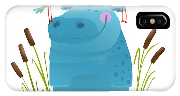 Baby Blue iPhone Case - Wildlife Hippo With Cute Birds Smiling by Popmarleo