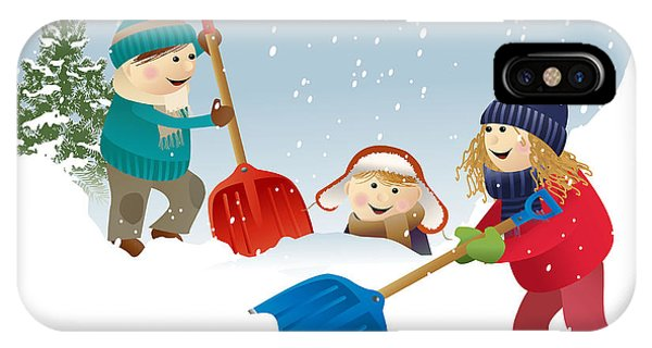 Winter Fun iPhone Case - Winter Background With Playing Kids by Jagoda