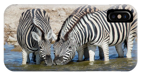 Zebras Lined Up Drinking At Waterhole Phone Case by Darrell Gulin