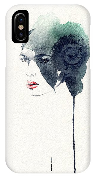 Red Hair iPhone X Case - Woman Face. Hand Painted Fashion by Anna Ismagilova