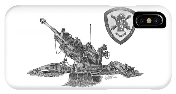 IPhone Case featuring the drawing 10th Marines 777 by Betsy Hackett
